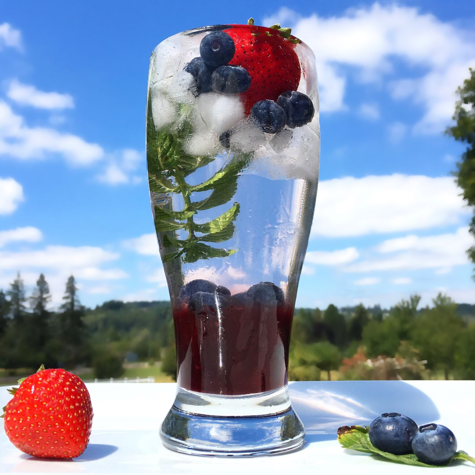 Blooming Berry Mint Cooler Made with Smoothie Base