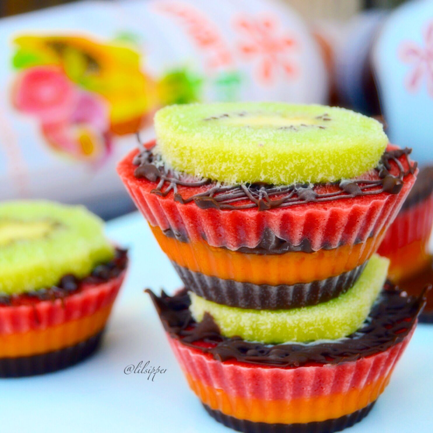 Frozen Tropical Fruit Cupcake Made with Smoothie Base
