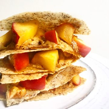 Spiced Apple Peanut Butter Quesadilla Made with Smoothie Mix