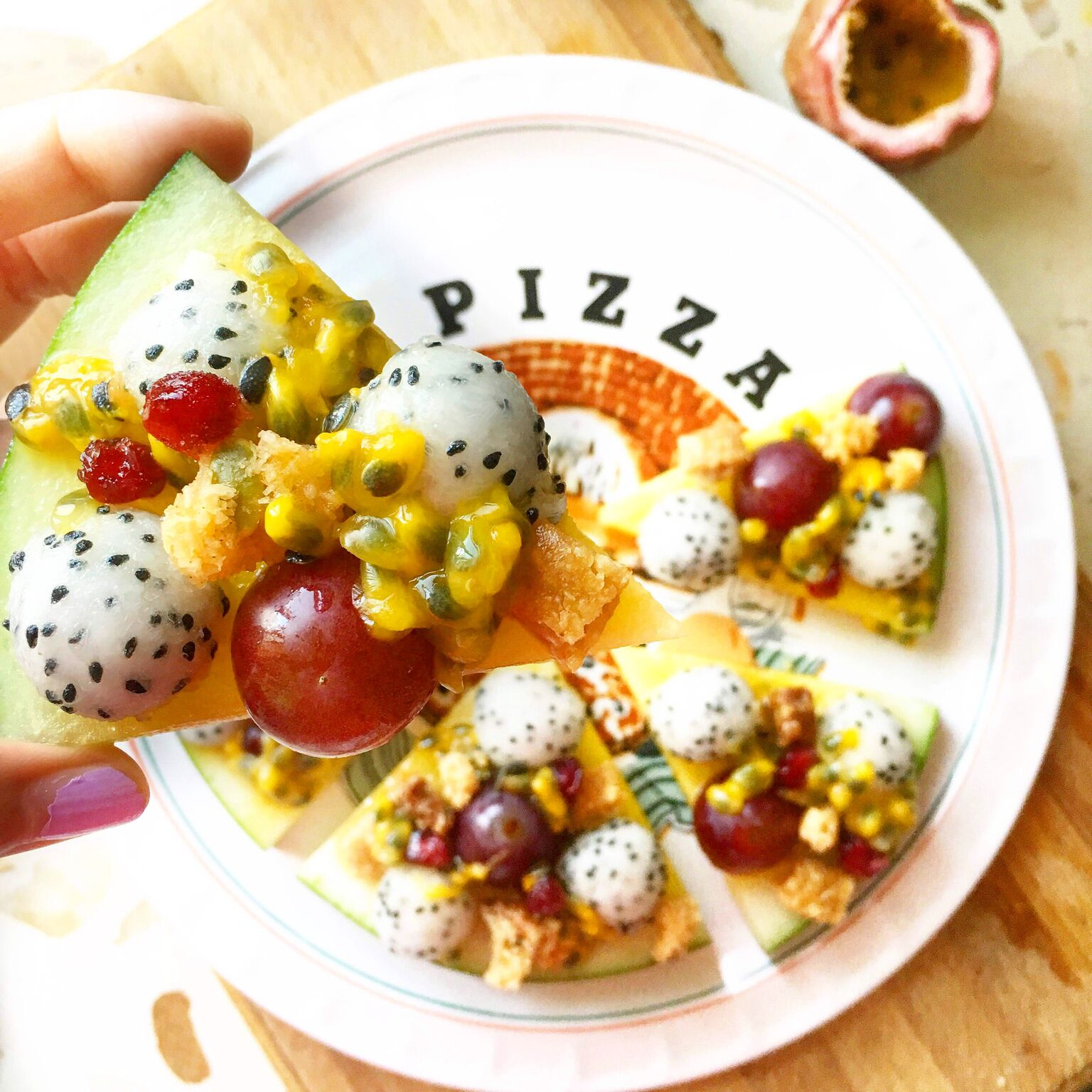 Fresh Fruit Ball Pizza Made with Smoothie Mix