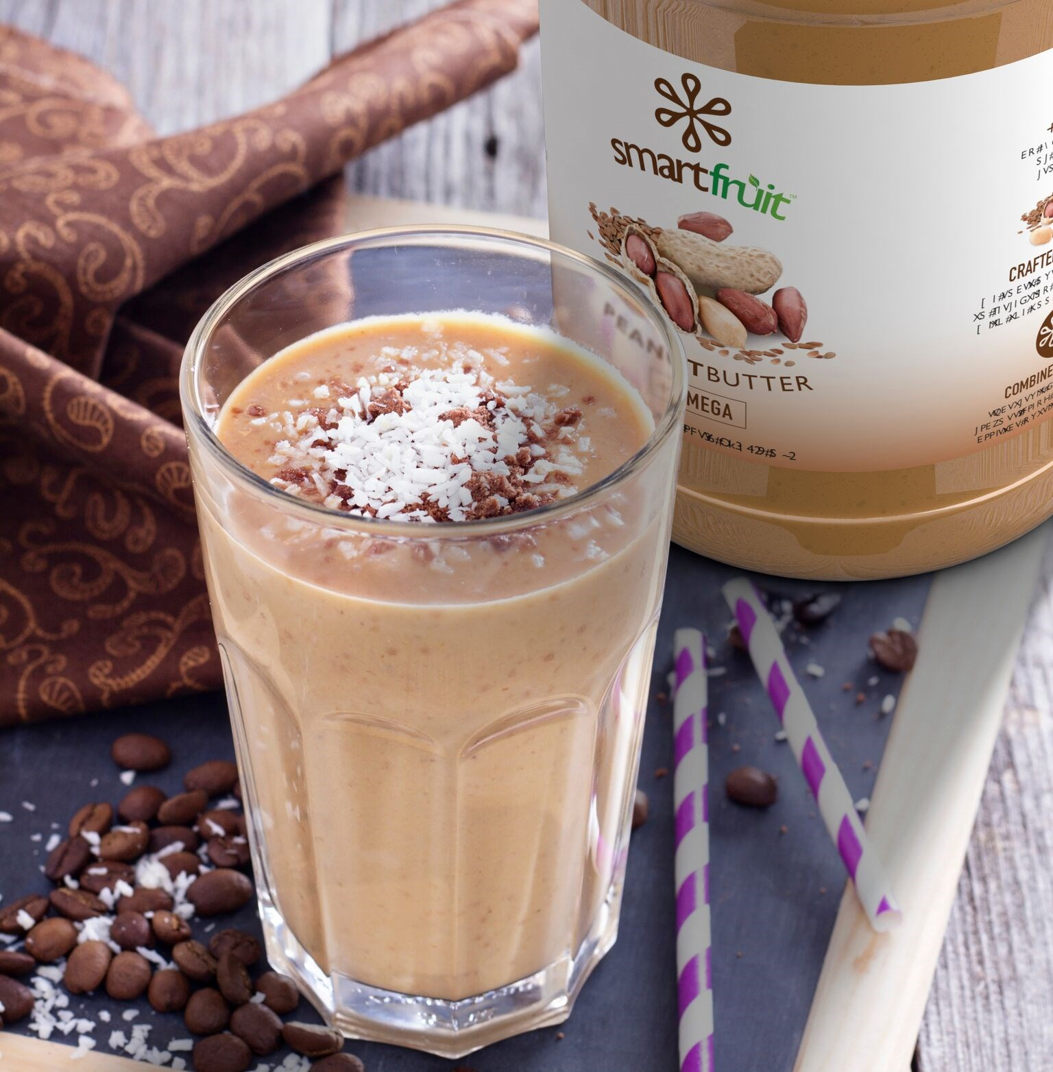 Coffee Coconut and Peanut Butter Frozen Cappuccino Made with Smartfruit