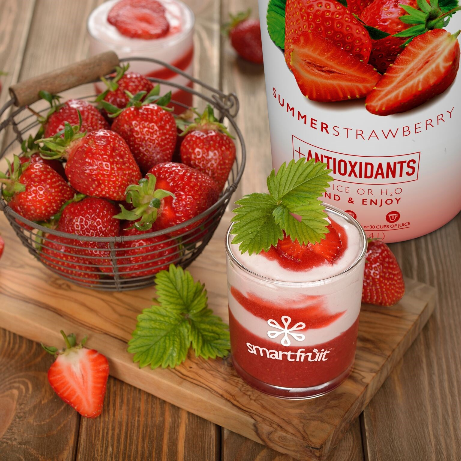Summer Strawberries and Cream Parfait Made with Smoothie Mix