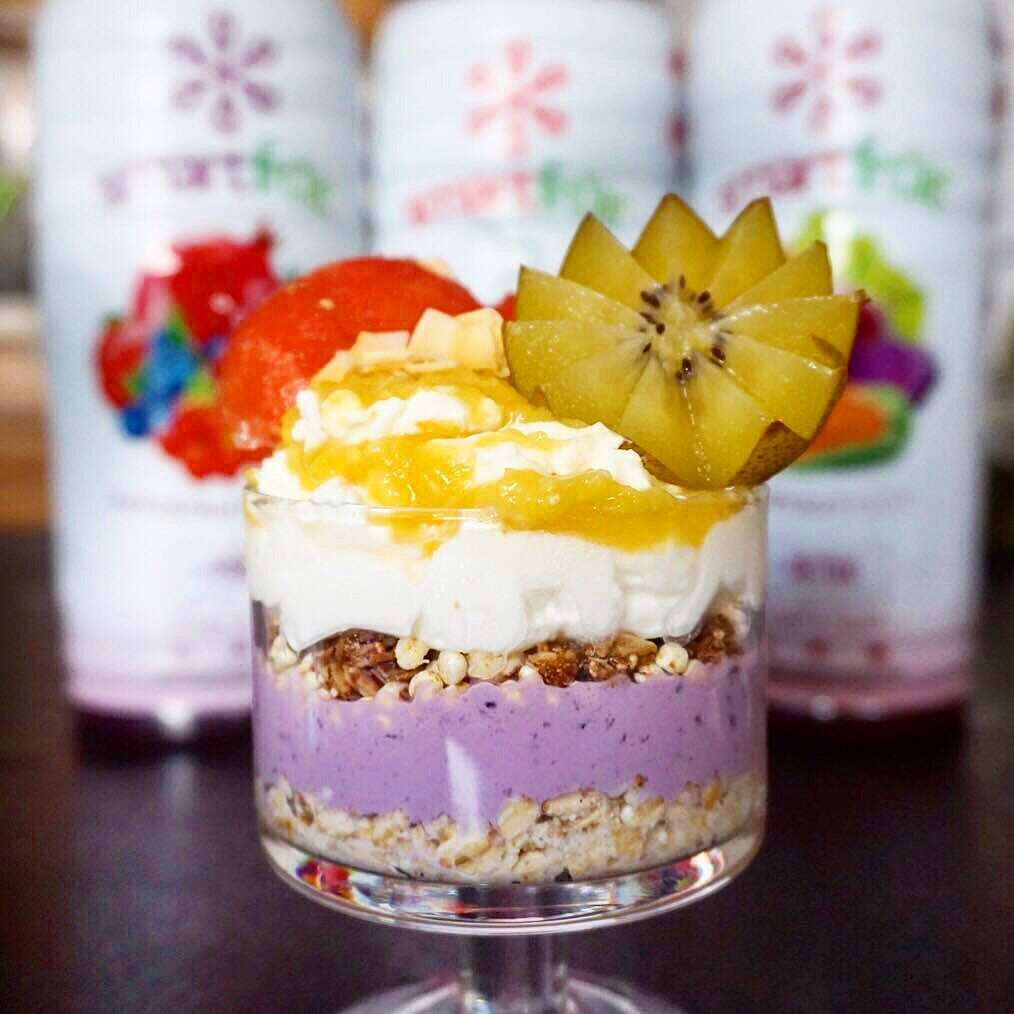 Blooming Berry Parfait Made with Smoothie Mix